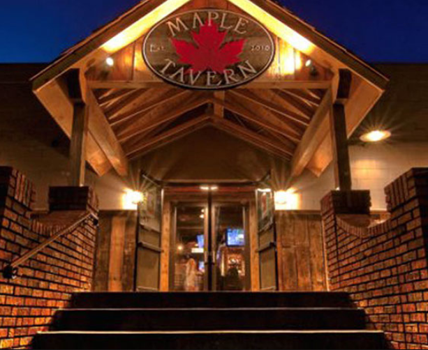 View of front of a Canadian restaurant called the Maple Tavern